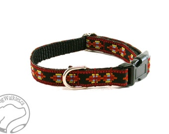 """Little Aztec Warrior - Thin Dog Collar - 1/2"""" (13mm) Wide - Small Martingale Dog Collar or Side Release - your choice of style and size"""