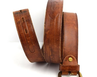 Luciano Pollini Vintage Handmade Leather Belt Brown Size 40