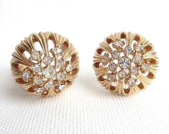 Gorgeous CINER Rhinestone and Gold Domed Vintage Clip Back Vintage Earrings - Designer Signed - Estate Jewelry