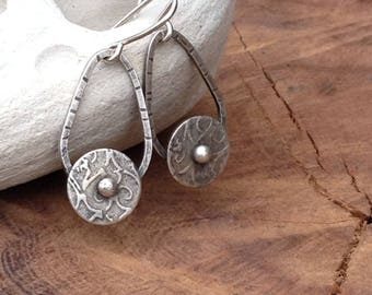 Sterling Silver Dangle Earrings, Shield Earrings, Unique hanging earrings