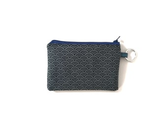 Blue japanese purse, blue wrislet, japanese zipper pouch, seigaiha purse, blue pouch - Blue Seigaiha