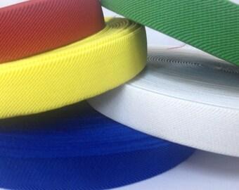 All colors, 1 in suspender elastic,1 in waistband elastic, elastic by the yard, wholesale elastic