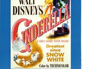 """Vintage Disney Poster Print, 1950 Cinderella 108 PMD   11"""" x 14"""" Frameable Picture, Wall Art"""