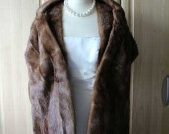 Vintage Real Pastel Brown Mink Fur Shrug Stole, Exeptional Condition Wedding / Opera / Occasion S17