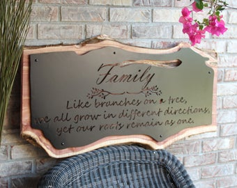 Family Wall Art, Live Edge Wood Wall Decor, Custom Sign, Inspirational Signs, Unique and Custom Live Edge Wood Wall Sign
