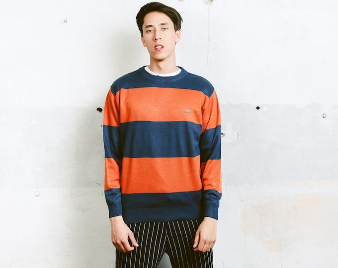 Striped Lacoste Sweater . Vintage Blue and Orange 90s Sweatshirt Men Sweater Unisex Casual Top 90s Clothing . size Medium M