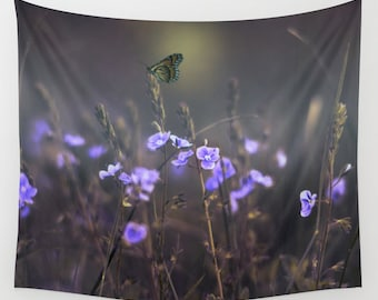Purple Flowers Tapestry, Butterfly Tapestry, Dreamy Large Wall Decor, Wild Flowers Tapestry, Nature, Dorm, Office, Calm, Whimsical Art