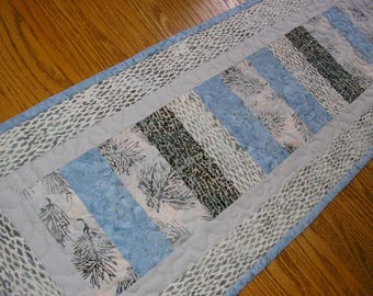 Quilted Table Runner, Quilted Batik Runner, Gray and Blue Batik Runner,  12 1/2 x 33  inches