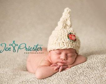 SALE Baby Hat, Newborn Hat, Elf Hat, Christmas Baby Hat, Knit Newborn Hat, Baby Photo Prop, White Hat