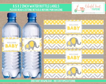 Elephant Baby Shower Water Bottle Labels, Elephant Water Bottle Wraps, Yellow and Grey, Instant Download, #0005