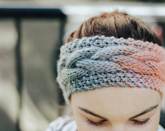 Super soft Grey and Pink Gradient Knit Headband