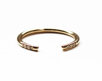 Cuff Ring (14K gold with diamonds)