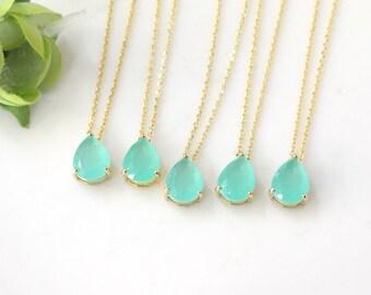 Bridesmaid gifts - Set of 7,8,9 - Mint necklace, Gorgeous Drop,stone in bezel,raindrop Necklace,mint necklace, mint pendant