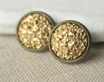 Gold Druzy STUD Earrings or Druzy CLIP on earrings Gold Druzy Earrings Druzy Post Druzy Jewelry 12mm or 8mm fake plugs Faux Druzy plug E509