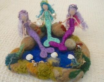 two mermaids, felted mermaids, mermaid sculptures,Waldorf, mermaid rock pool, play mat, nursery school, kindergarten, nature table