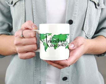 Adventure Awaits Travel Quote Mug Office Gifts for Travelers - World Map Mug Green Mug - Travel Love Coffee Mug Travel Gifts Map Mug
