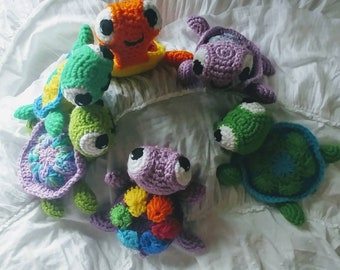 Custom Multicolor Sea Turtle, Amigurumi sea turtle stuffed toy, Choose your own colors
