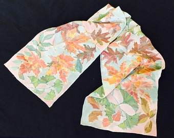 "Fall Leaves Silk Scarf on a Beige Background, 100% Silk Crepe de Chine, 12"" x 60"""