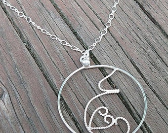 LIMITED TIME SALE Fluttering Love.  A pregnancy necklace. Hand Forged Sterling Silver, Each One Unique, Choice of Finish and Length. Midwife