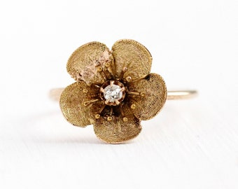 Sale - Antique Flower Ring - 14k & 10k Rosy Yellow Gold Diamond Stick Pin Conversion - Sz 5 1/4 Vintage Victorian Fine Floral Petals Jewelry
