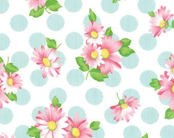Pink Floral and Blue Polka Dot Fabric - Sew & Sew from Chloe's Closet by Moda 1/2 Yard