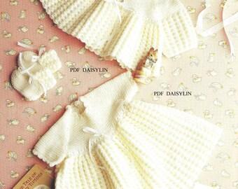 Instant PDF Download  Pretty Baby Layette Crochet Pattern Dress Jacket Bonnet Bootees    (49)