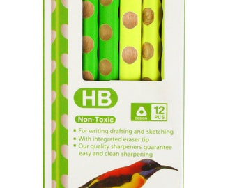 Colourful HB Writing Pencils Set of 12