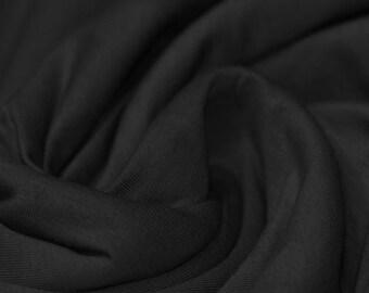Jet Black - Cotton Lycra Jersey Knit Fabric