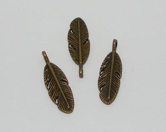 3 pendant charm antique bronze feather - Ref: PB 266