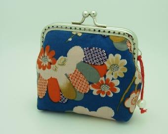 Coin purse, Multicolor plum blossom 100% cotton fabric with 8.5cm square kisslock