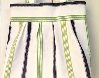Stripe tote bag, Pleated tote bag, handmade tote bag, womens handbag, shoulder bag, summer bag, fabric bag, magnetic closure