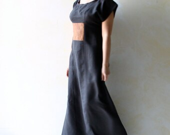 Linen Dress, Long dress, Tunic Dress, Maxi dress, Black dress, Boho dress, Ethnic dress, Women clothing, Organic Tunic, short sleeve dress