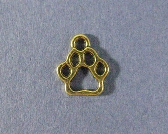 10 Paw Print Charms - Paw Print Pendants - Animal Charm - Paw Print - GoldTone - 13mm x 11mm  --(A2-12198)