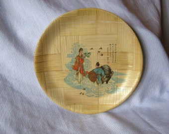 Vintage Chinese Bamboo Plate - Love Story of Niu Lang and Zhi Nu the Weaver & Taiwan bamboo plate | Etsy