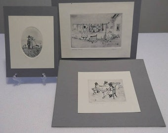 Three Vintage Original Etchings (One Limited Edition), Signed by Ohio Artist Ed Gifford, Two Amish-Themed and One Nostalgic Americana