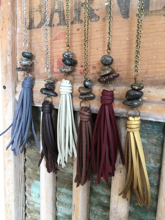 Long Tassel Necklace for Layering - Faux Leather Tassel + Himalayan River Stone - Boho Gypset Jewelry Gift For Mom