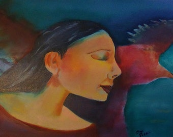 original art  painting woman flight dreams wall decor design abstract native american