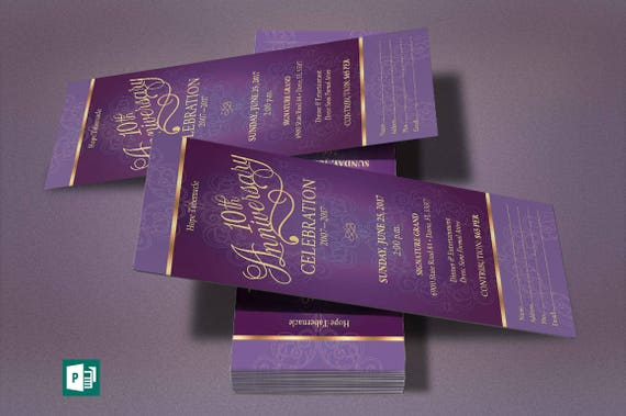 Purple Gold Church Anniversary Publisher Ticket Template