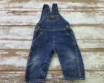 Vintage Osh Kosh overalls/ denim overalls/ size  9 to 12 month overalls/ jean overalls/ kids overalls/ Osh Kosh Begosh/ vintage overalls