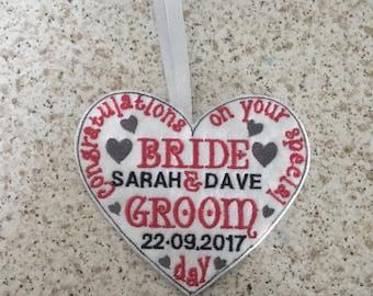 Hanging heart wedding gift, personalised wedding gift, bride and groom gift