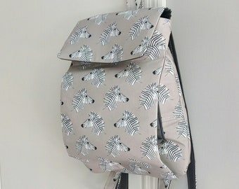 Zebra Fabric Cute Tween Child Feeding Tube Backpack - Custom Fabric Choices - DEEP Front Pocket for Quick Pump Access