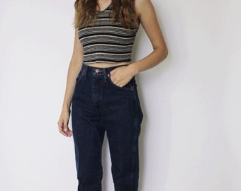 Vintage 1980s Wrangler Jeans 25 | High Waist Denim Jeans | Dark Blue Denim Jeans