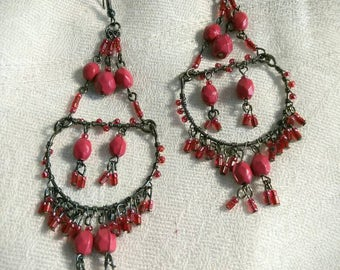 Vintage Beaded Chandelier And Wired Pierced Earrings Cranberry Colored Beading