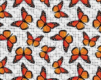Patrick Lose Fabrics - Flower Power - Monarch Butterflies - Orange - Fabric by the Yard 65122B770715