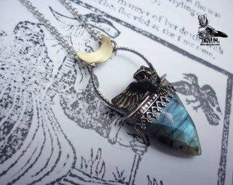 Magic night. Pendant stone labradorite intense blue light. moon and owl. 925 silver and brass