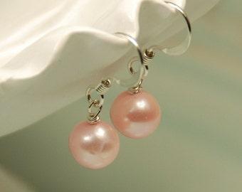 Pink Pearl Flower Girl Earring, Pink Girl Earrings, Flower Girl Pearl Earring, Single Pearl, Pink Freshwater Pearls in Sterling Silver