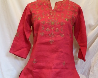 Vintage 1970's Style Floral Indian Embroidered Red Long Sleeve Shirt
