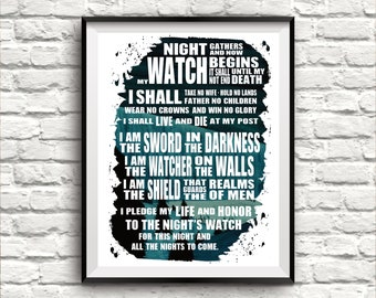 Night's Watch Oath Watercolor Poster ~ 3 sizes ~ Quote Print