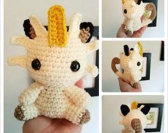 Meowth Pokemon Toy. Plush Meowth. Crochet Meowth Doll. Normal Type Pokemon. Team Rocket Plushie.
