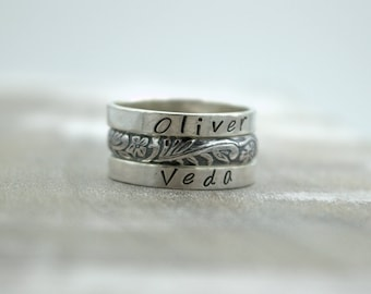 Sterling Ring Set / Mothers Day Gift / Personalized Ring / Gift for Her / Mothers Day / Stacking Rings / Name Ring / Personalized Stacking